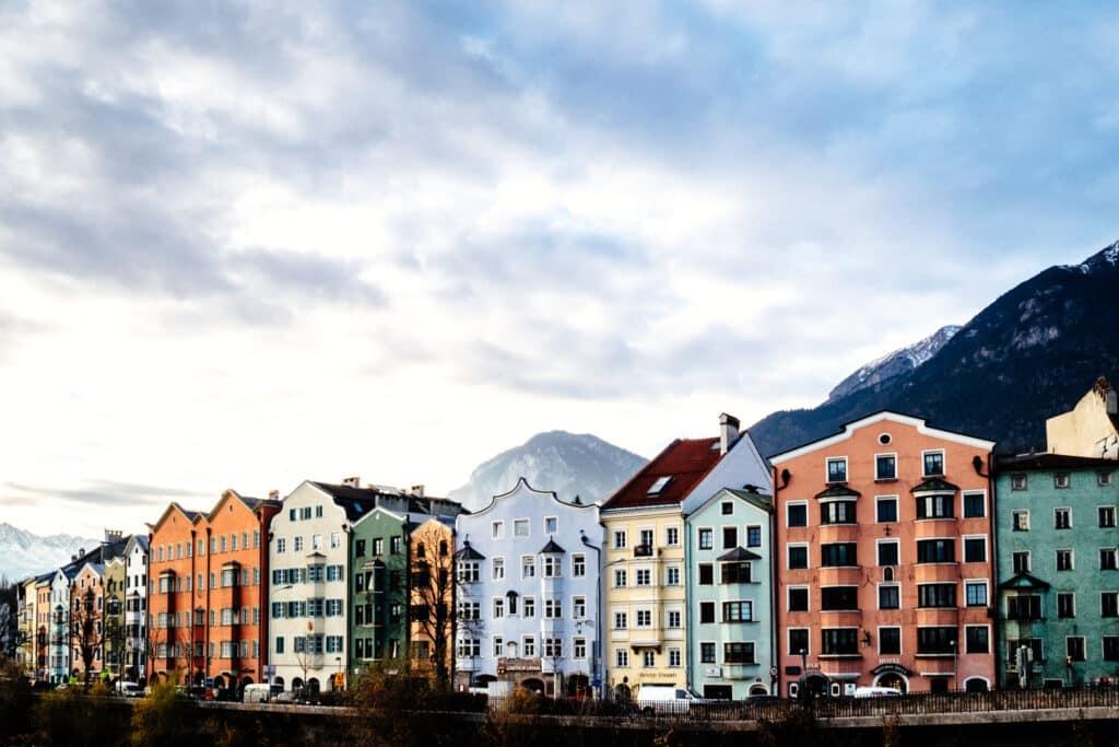 Innsbruck pastel coloured buildings.
