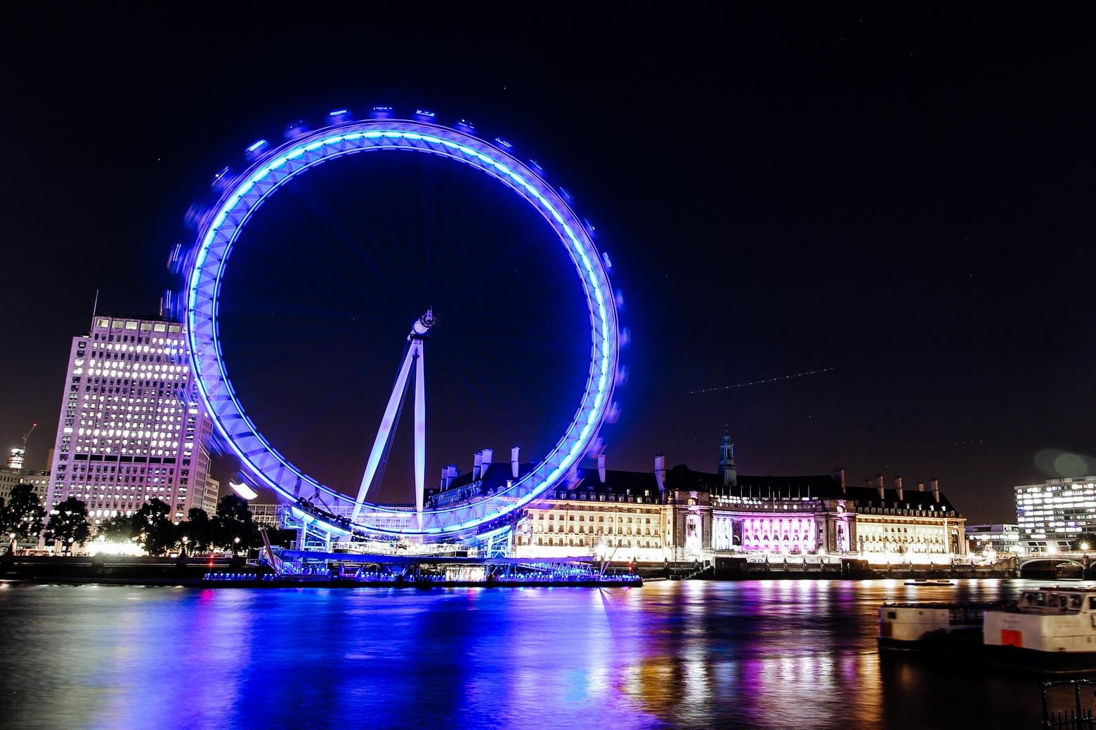 London Eye at night during winter.