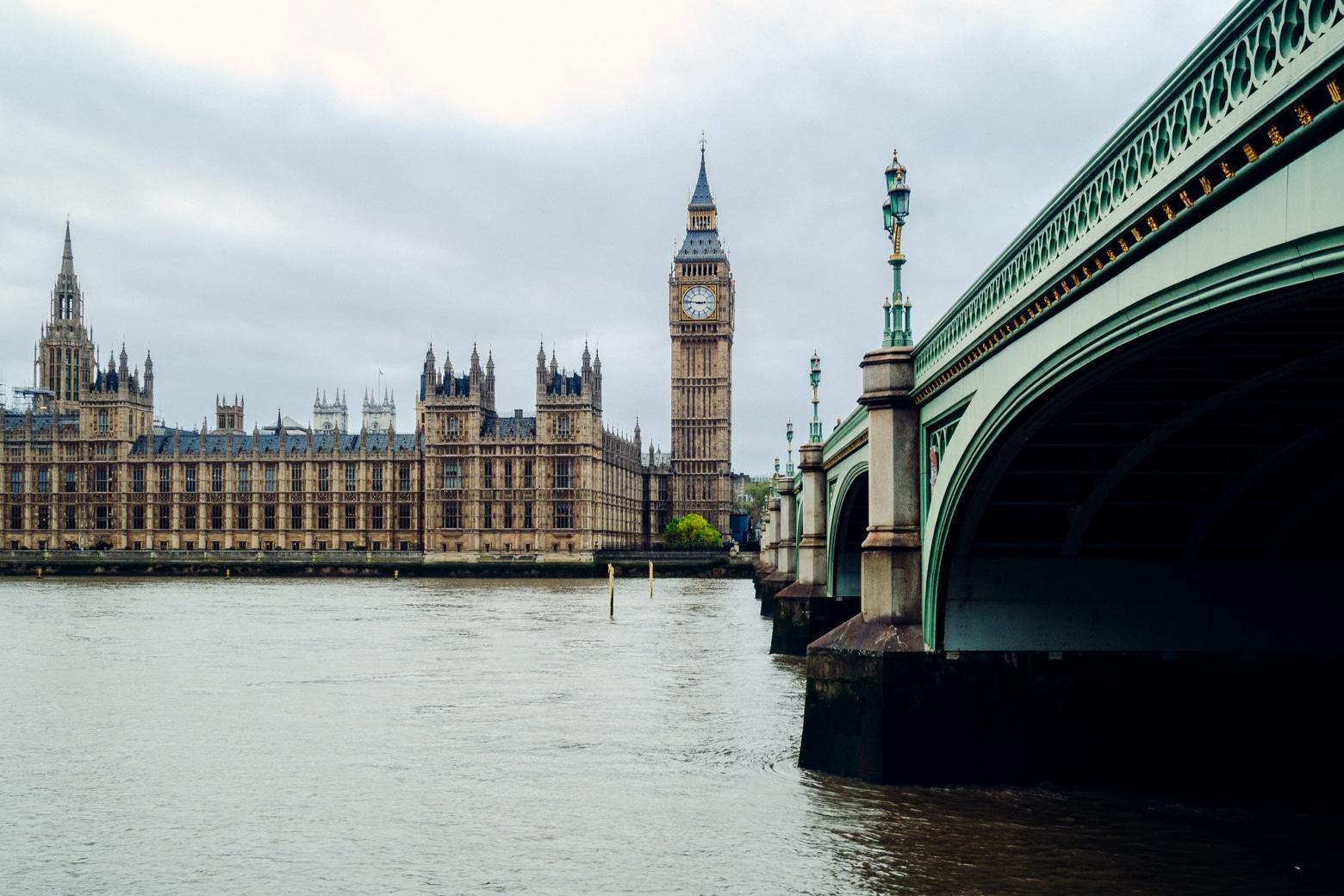 British Parliament building and Westminster Bridge