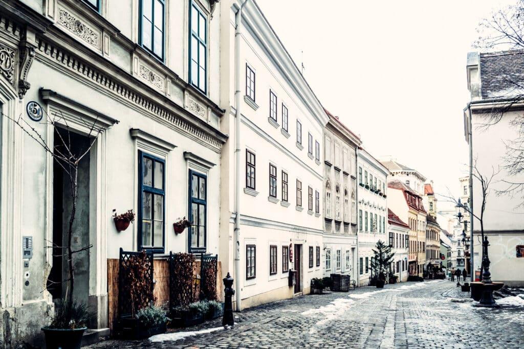 Vienna historic buildings and cobblestone street.