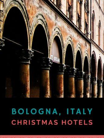 Historic red brick arcades in Bologna
