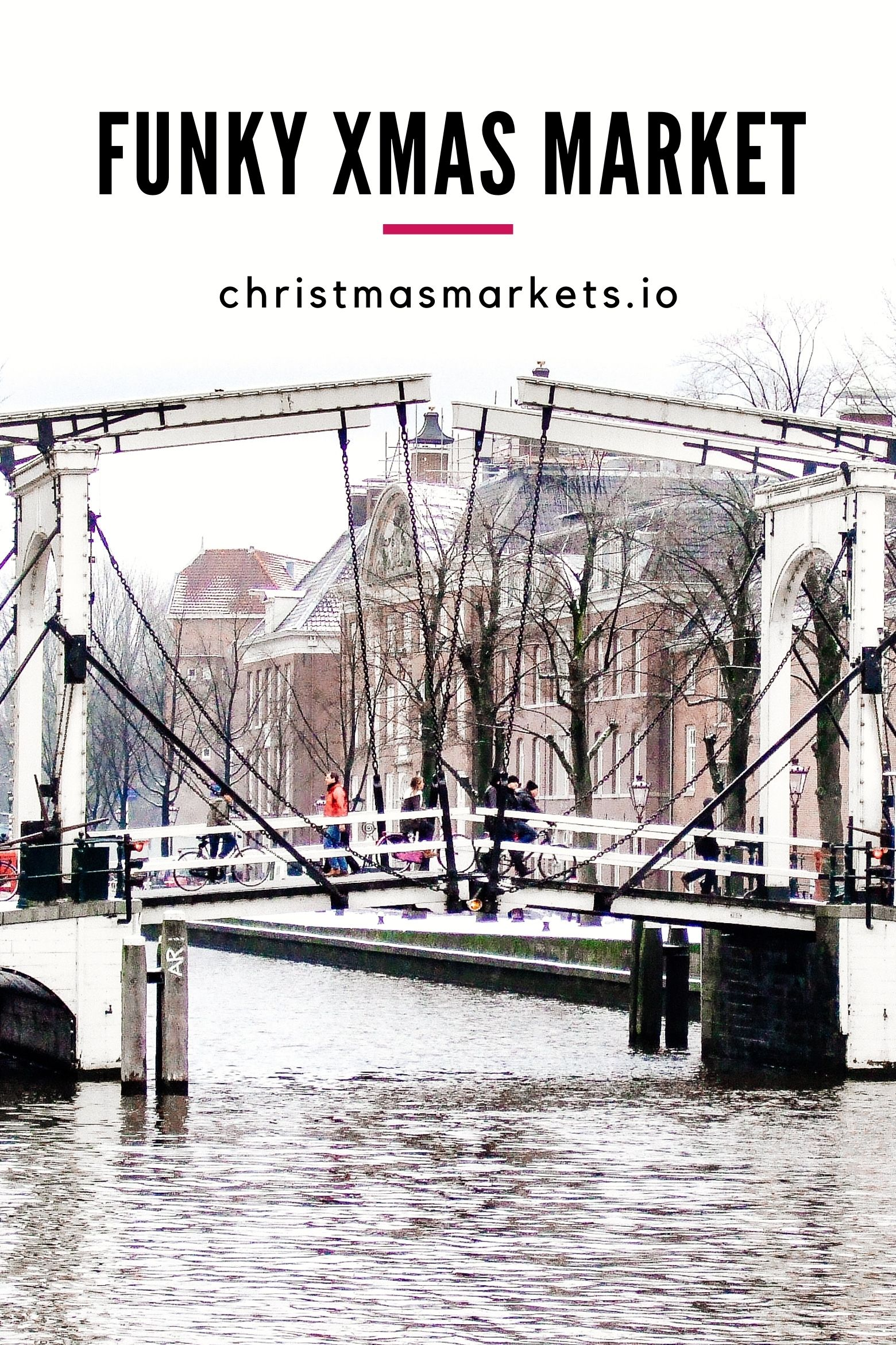 Amsterdam bridge and canal at winter.