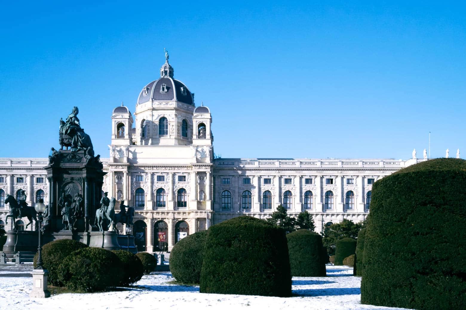 Maria Theresien Platz gardens with snow.